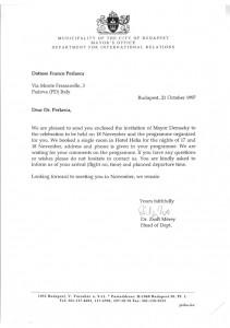 invito del Comune di Budapest